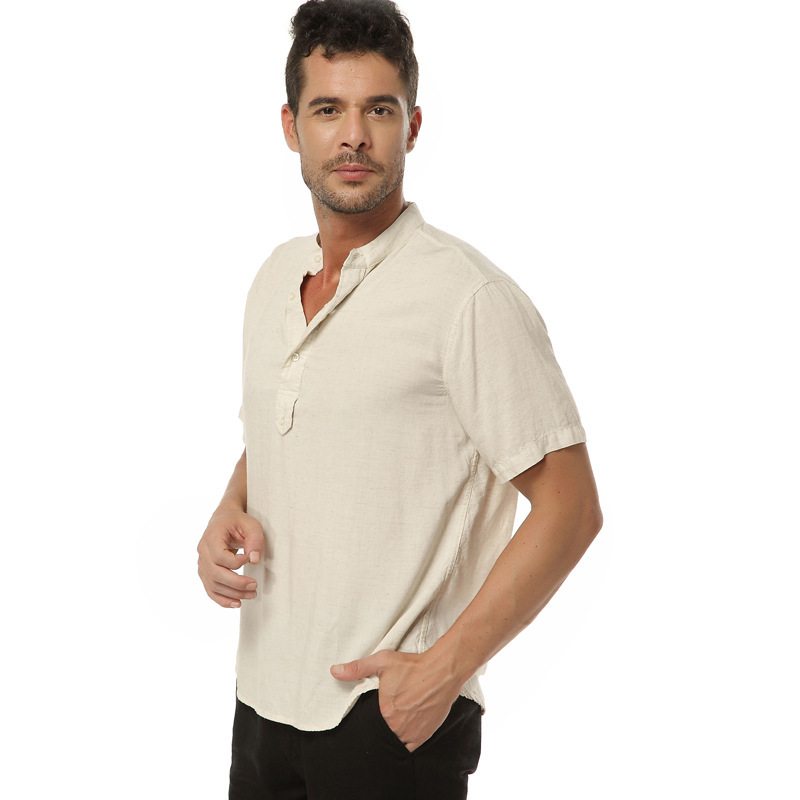 Men 39 s short sleeve linen henley shirts 2015 new fashion for Mens collared henley shirt