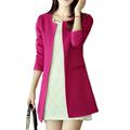 Women s Basic Jackets 2016 Women Long Jacket Solid Casual long sleeve outwear High Quality Slim