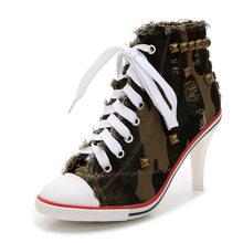 2018 Phụ Nữ Giày Vải Denim Cao Gót Đinh Tán Giày Thời Trang Giày Ren Sneakers Phụ Nữ Ngắn Phụ Nữ Khởi Động của Máy Bơm(China)