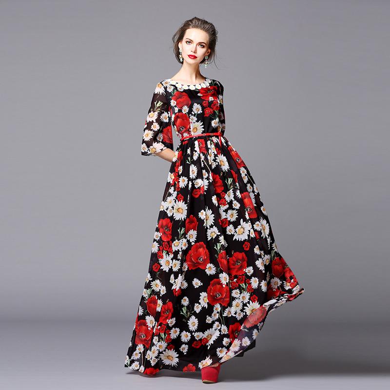 Fasicat 2016 New Runway Brand Women's Floral Print Maxi Dress Three Quarter Sleeve O Neck Slim A line Party Vestidos D5001