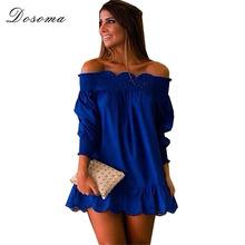 Plus size 2015 summer vestidos Women casual loose Dress Solid Ruffle Sleeve Off Shoulder Mini chiffon Dress Beach Dresses Women(China (Mainland))
