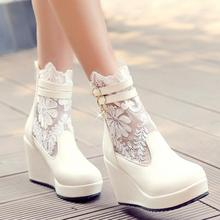 new motorcycle wedges bootssales ankle boots Lace Woman summer Boots high-heel Zipper Buckle Woman Ankle Boots size 34-43(China (Mainland))