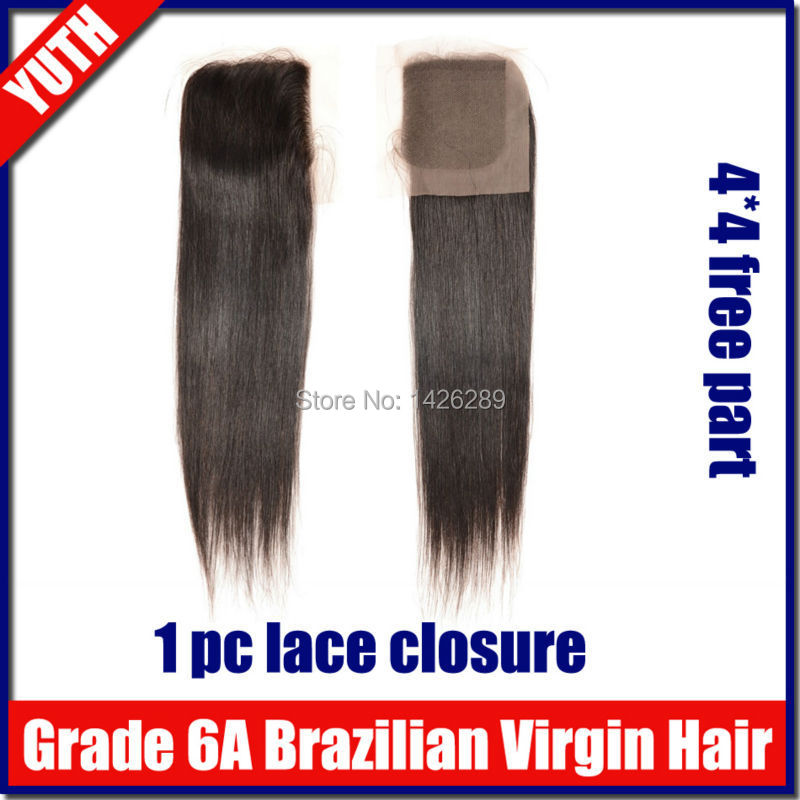 1pcs/lot Brazilian Lace Closure Straight Weave Grade 6A Brazilian Virgin Hair Straight Free Part Closure Human Hair Extensions(China (Mainland))