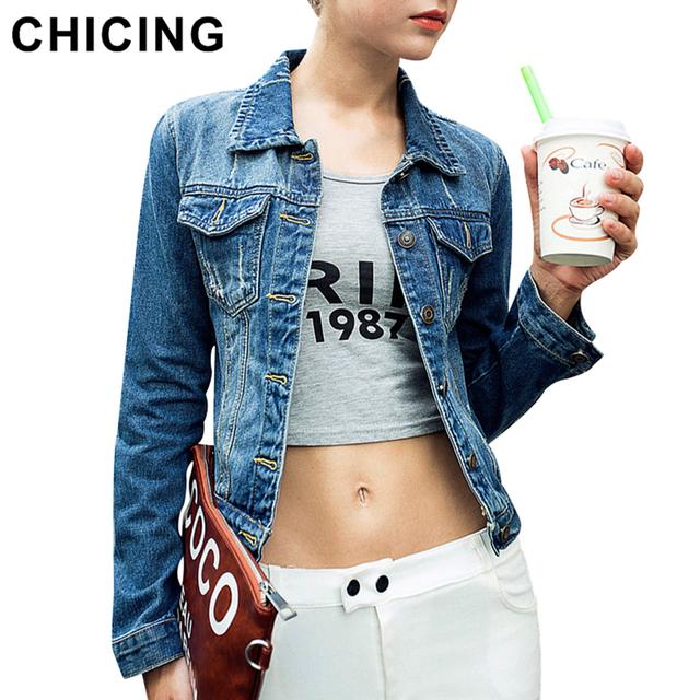 Chicing женщин омывается джинсовой пальто 2016 мода весна отложным воротником с длинным ...