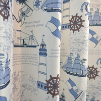 Printing sailing cartoon blackout curtains for children bedroom custom home decor tulle window screen