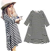 high quality bobo choses baby girls clothes dress brands striped printing girl kids dress fashion Girls Princess dress clothes