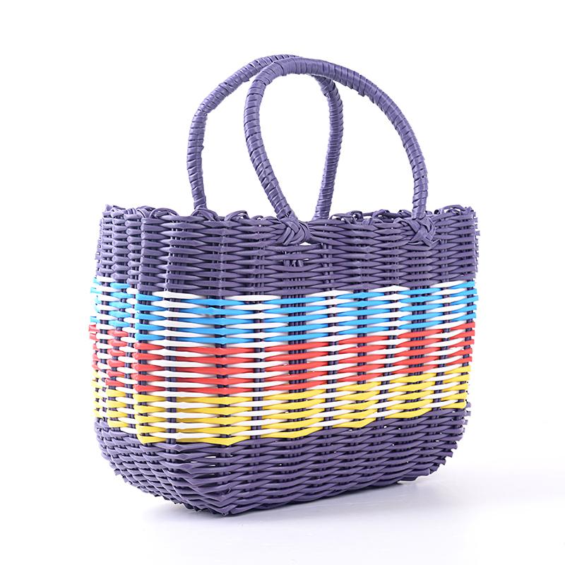 Purple Home Woven Basket  Fruit Rattan Storage Box Shopping Baskets Organizer Handiwork Free Shipping  21*30*12cm(China (Mainland))