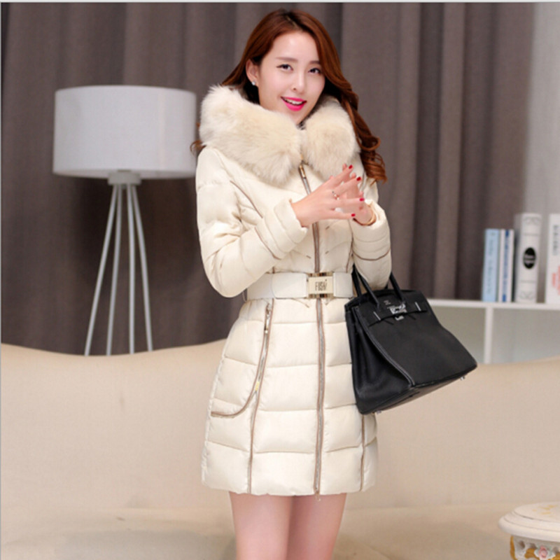 Women Winter Warm Long Parkas 2015 New Female Slim Cotton Jacket Hooded Faux Fur Collar Ladies Elegant Thick Coat H120
