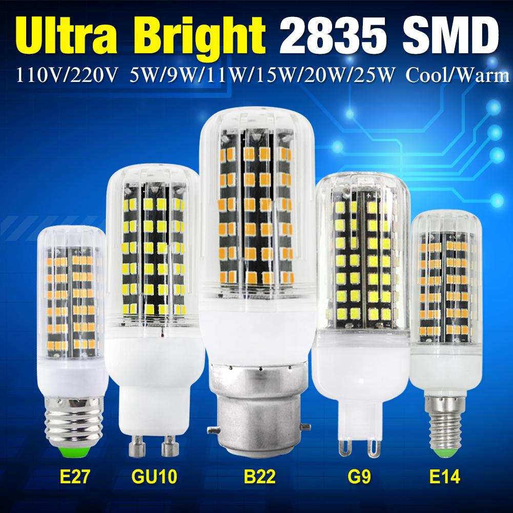 Cheap E14/E27/G9/GU10/B22 2835 LED Corn Bulb Lamp AC 220/110V 5W 9W 11W 20W 25W Christmas Lampada Led Chandelier Candle Lighting(China (Mainland))