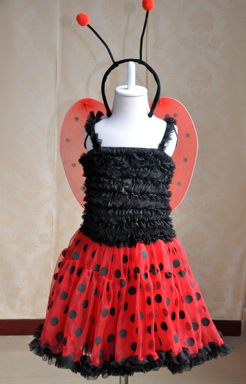 Hallowmas use girls ladybird dress(with wings and headband ) halloween kids costumes dress girls free shipping(China (Mainland))