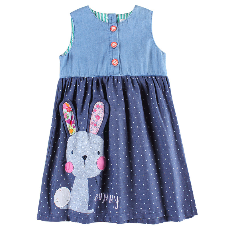 Girls party dresses nova kids jeans clothes fashion rabbit baby girls frocks summer hot sell girls dresses children's wear dress(China (Mainland))