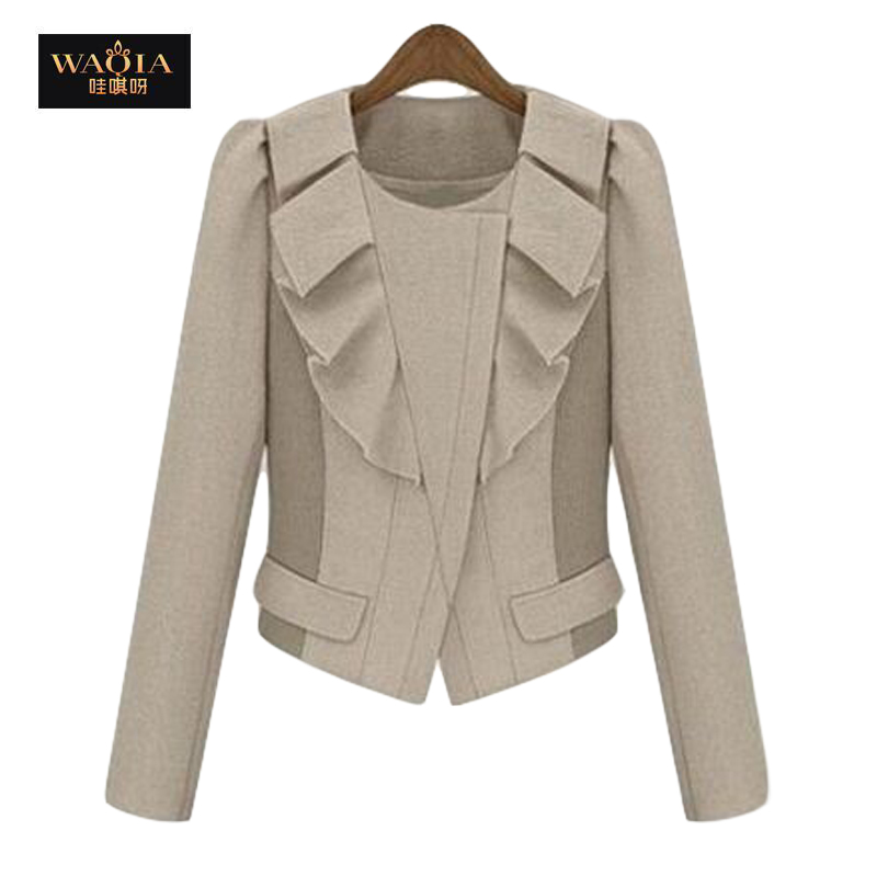 2015 new hot spring autumn fashion short jackets women Europe and America long sleeve ruffle jacket plus sizeОдежда и ак�е��уары<br><br><br>Aliexpress