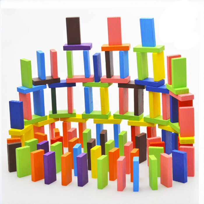 120pcs/pack 10 colored dominoes Kids toys Educational toys Authentic Standard Wooden Toy wholesale()