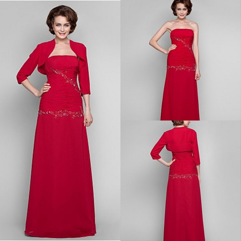 Red dress mother of the bride with jacket strapless for Cocktail dress with jacket for wedding