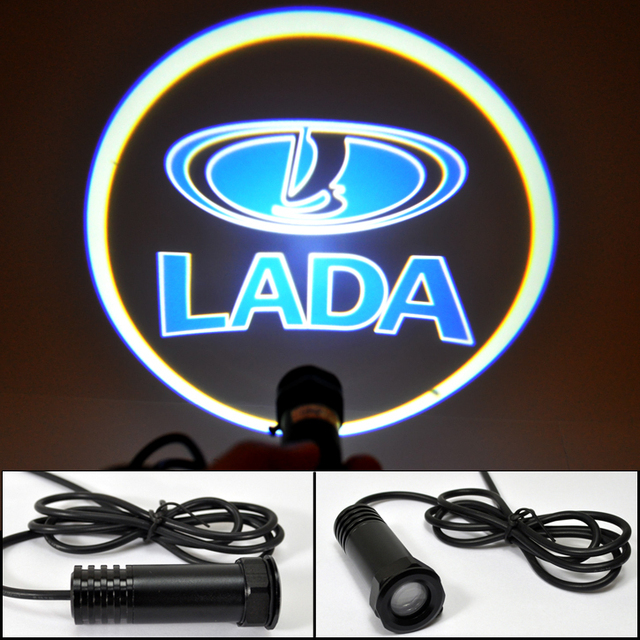 Auto Ghost Shadow Light Car LED door lights for LADA  LOGO Decoration door prejection welcome light HK post Free
