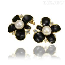 Lovely Design Bizjoy 2015 Stylish Jewelry Black Flowery Earrings Pearl Decoration For Women Grace At a Discount(China (Mainland))