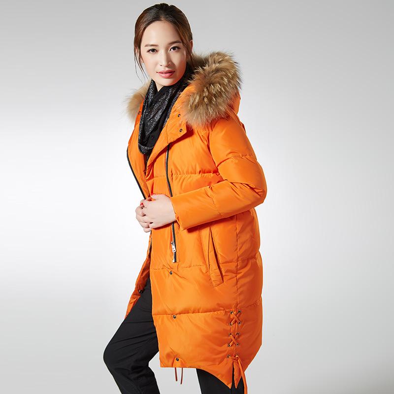 2016 Новый Европейский высокое качество утка вниз куртки женщин длинные теплые куртки меховой воротник с капюшоном женское пальто модные ветровки JA078