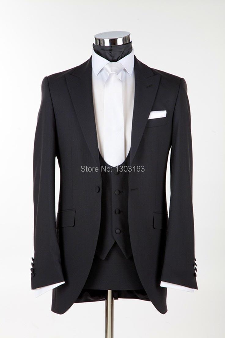 2014 New Arrival Groom Suit Custom Made Wedding Men Suit Men Dinner Tuxedos (Jacket+Pants+Vest+Tie)Black Suit