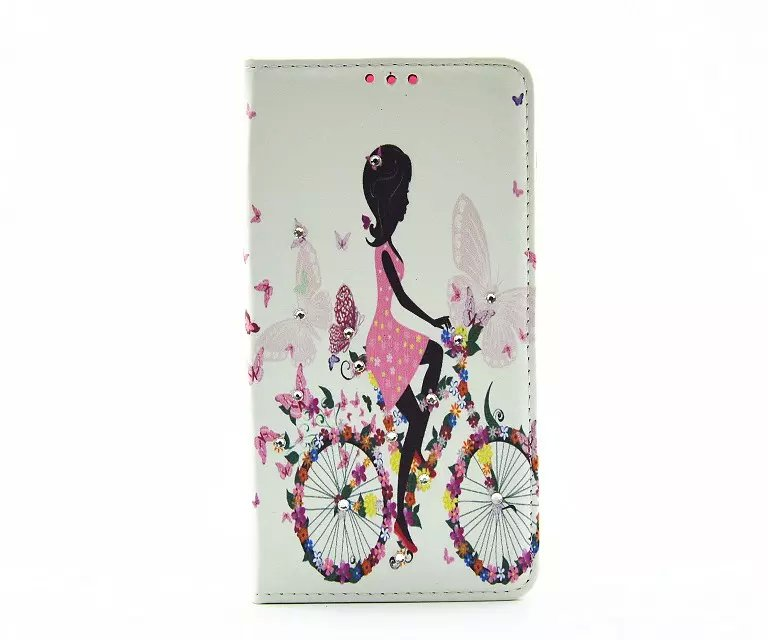 2016 Rhinestone Wallet Flip Leather Cover Cartoon Butterfly Girl Pattern For Apple Iphone 5 5s Phone Bags Slot Photo Frame Stand