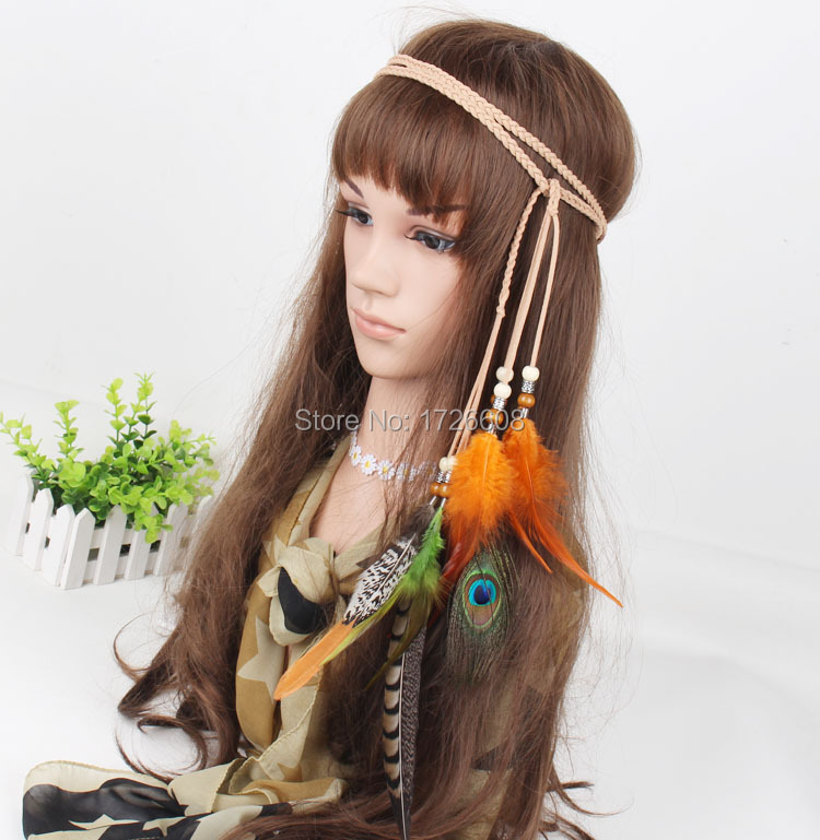 Hot Party Make-up Natural Feather Hair Loop Grizzly 2016 New Style Rooster Feather Hair Extensions Party Hair Piece Accessories(China (Mainland))