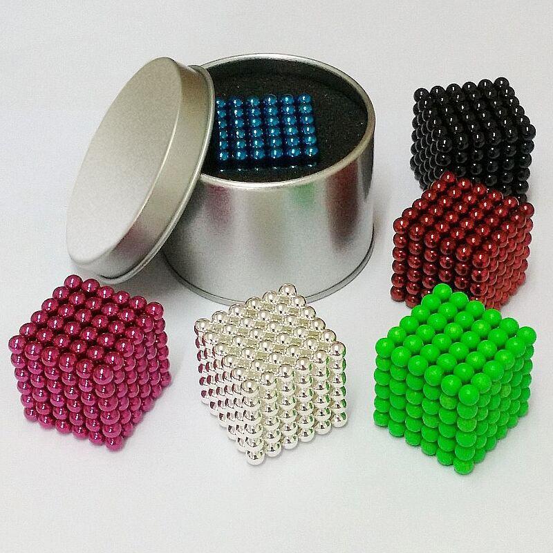 Free shipping 5mm Size 125 or 216 Magnetic Balls Grade Magic Puzzle Magnet Block Cubo Magico Toys 14 colors metal Box+bag+card(China (Mainland))