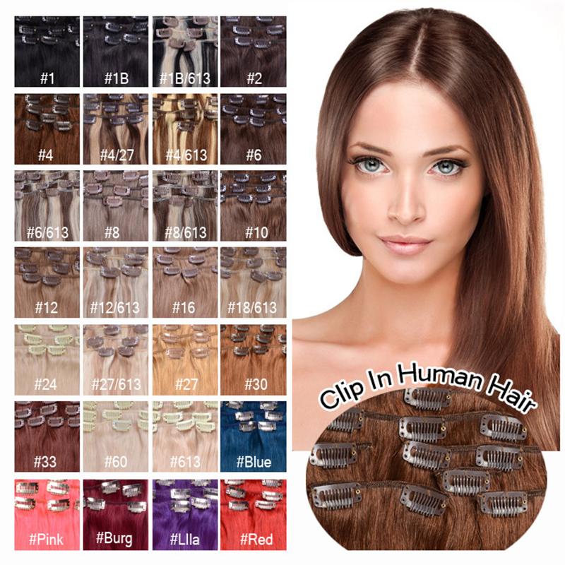 "Гаджет  Clip in Virgin Human Hair Straight 16"" 18"" 20"" 70g Brazilian Virgin Hair Clip in Hair Extension 100% Real Human Hair 28 Colors None Волосы и аксессуары"