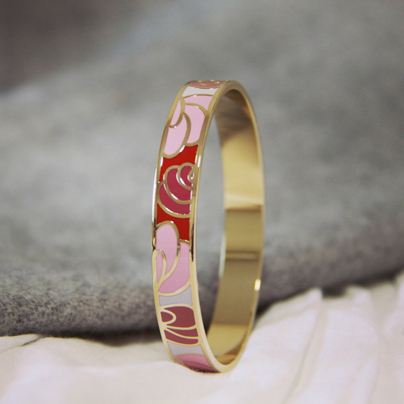 Fashion accessories jewelry Flowers design Birthday gift to 1.0 cm wide Copper embryo cloisonne Colored enamel bangles(China (Mainland))
