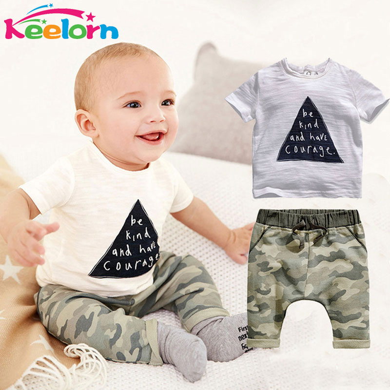 Keelorn Baby clothing Rompers kids boys summer style infant clothes Cotton Little Monsters Short Sleeve 2pcs Suits baby rompers(China (Mainland))