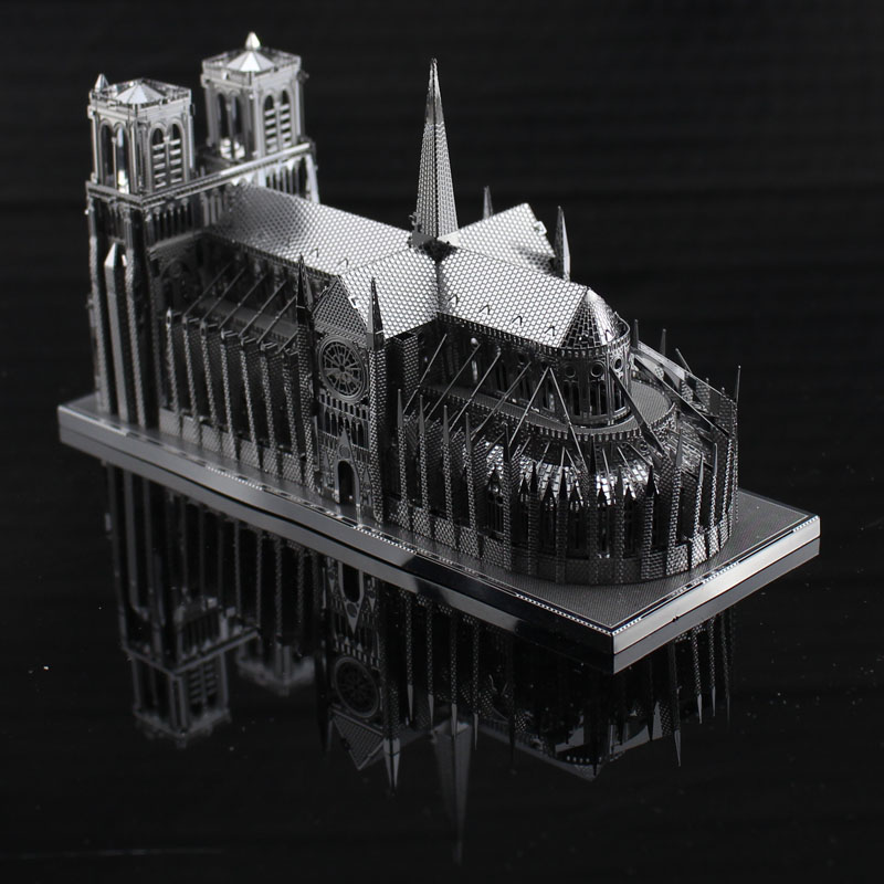 LELE Online@Notre Dame de Paris Cathedral The World's Famous Architecture Chinese ICONX 3D metal model nano Puzzles Brass DIY(China (Mainland))