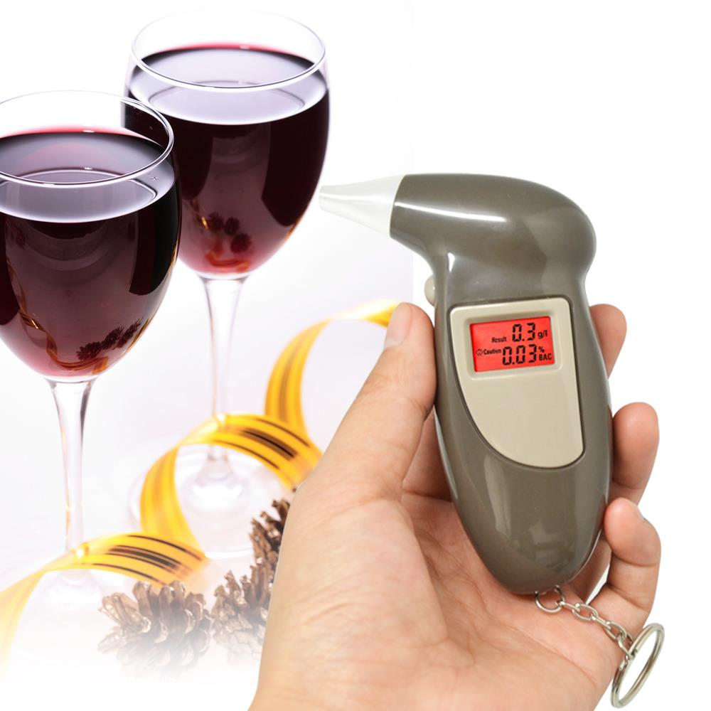 Free shipping 2pcs/lot Digital LCD Alcohol Breath Analyzer Breathalyzer Tester Keychain Audible Alert(China (Mainland))