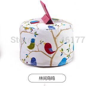 Ywxuege lazy fabric sofa stool forest bird style Home Office circular seating stool washable canvas newspaper(China (Mainland))
