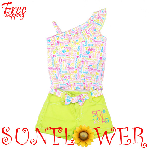 2013 Summer Brand Design Clothes Children Girl's 2PC Sets Fashion Outfits One Shoulder Prints shirt+ Shorts Free Shipping
