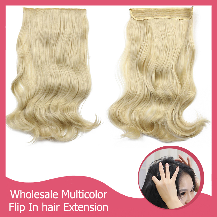 20pcs/lot Halo Hair Extension Natural Synthetic Flip In Hair Extensions Wholesale M01 Wavy Hairpiece Hair Pieces Accessories(China (Mainland))