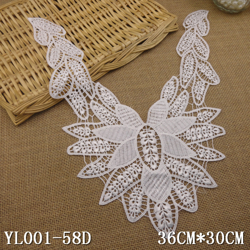 1pc Neckline Creamy-white Flower Lady Venise Lace Applique Trim, lace fabric sewing supplies Sewing Accessorie soluble cord lace(China (Mainland))