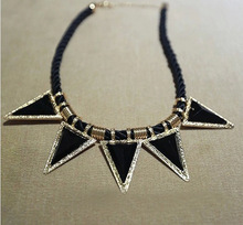 New Arrival Fashion Necklace Jewelry Hot Wholesale Triangle geometry hand knitted sweater chain necklace women collar jewelry(China (Mainland))