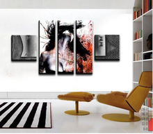 100% Hand Painted Abstract Oil Painting On Canvas Beauty Portrait Painting Home Decorative 5 Pieces Canvas Art Free Shipping(China (Mainland))