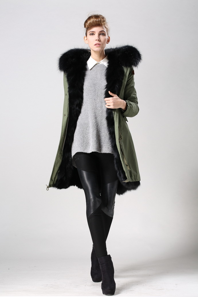 mr mrs furs 2015 womens army green long style hooded coat F002-15 - Guangzhou Armiar Fur Parkas Store -- Meifng Brand store
