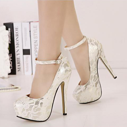 2015 Fashion Woman Pumps Flower Print Luruxy Sexy High Heels Platform Shoes Ankle Strap Wedding Bridesmaid(China (Mainland))