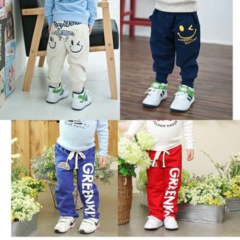 Новинка 2014 детские штаны девочки мальчики полная длинна штаны весна осень буквы мальчики брюки на каждый день