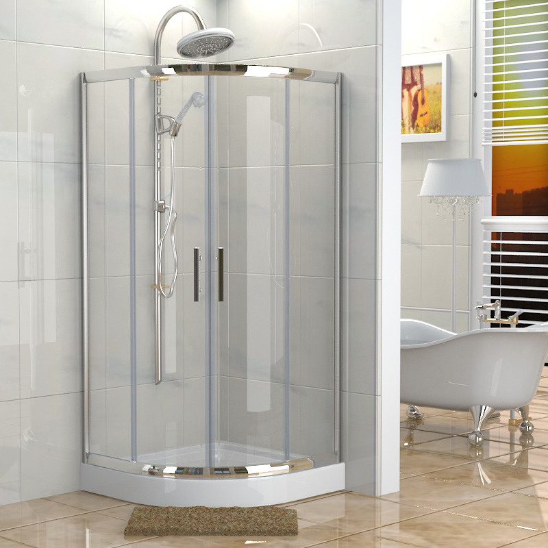 aluminium Sector shower cabin steam room with tray twins sliding doors tempered glass enclosures made in China(China (Mainland))