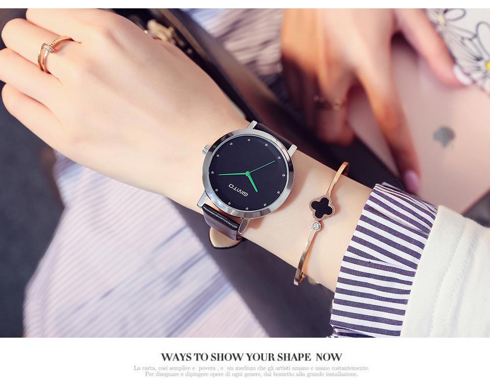 GIMTO Girl Dress Women Watches Leather Strap Creative Ladies Watch Clock Casual Female Analog Quartz Watch Relogio Montre Femme