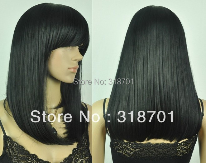 Medium length Straight Straight Synthetic Wig Full Bang  Free Shipping<br><br>Aliexpress