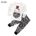 Girls Autumn Cotton Clothing Set Long Sleeve hoody Pants two pieces Kitty cat cartoon leopard casual