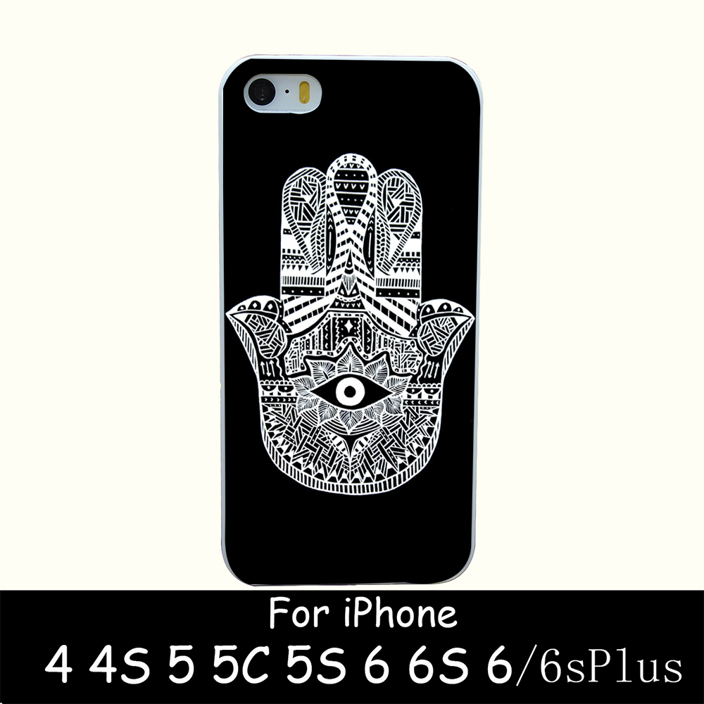 hamsa Style Hard White Case Cover for iPhone 4 4s 5 5s 6 6s 6 plus Back Print Design(China (Mainland))