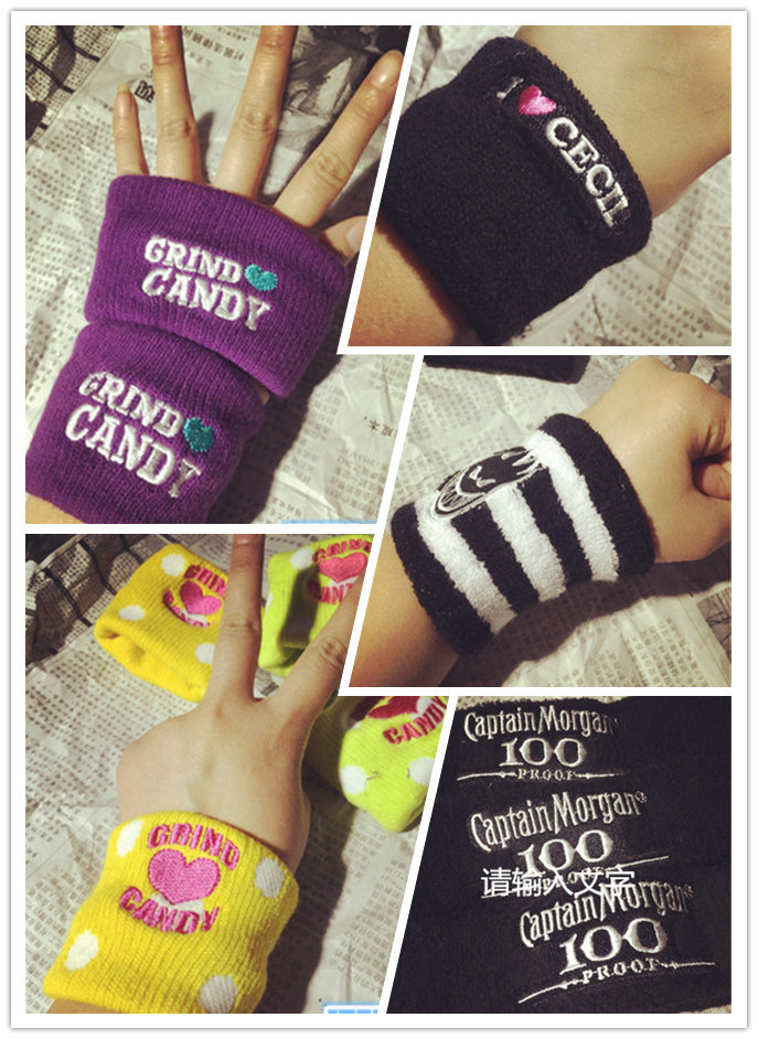 [C]Free Shipping Sport Bracer For 10 Pcs/a Lot Dead Fly Street Harajuku Candy Color Cotton Fashion Men And Women Wristguard(China (Mainland))