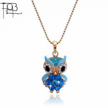 2016 New Arrivals 18K Gold Plated Austrian Crystal Pendant Necklace Fashion Jewelry Crystal Colorful Owl Pendants