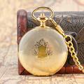 Luxury Exquisite Golden Royal Shield Design Pocket Watch Automatic Mechanical Fob Watches Men Women Best Birthday