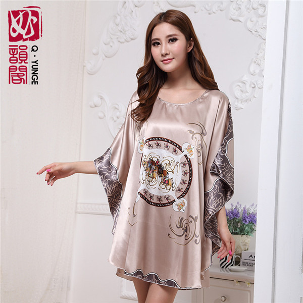 Silk Plus Size Lounge Female Sleep Tops Bath Robe 2015 Women Sexy Kimono Pajamas Fashion Loose Bathrobe - 1001 Nights Co.,Ltd store