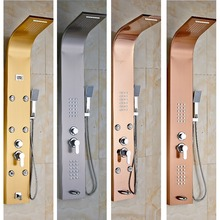 4-choice Bathroom Stainless Steel Rainfall Shower Panel Rain Body Massage System Faucet with Jets Hand Brass Tub Spout(China (Mainland))