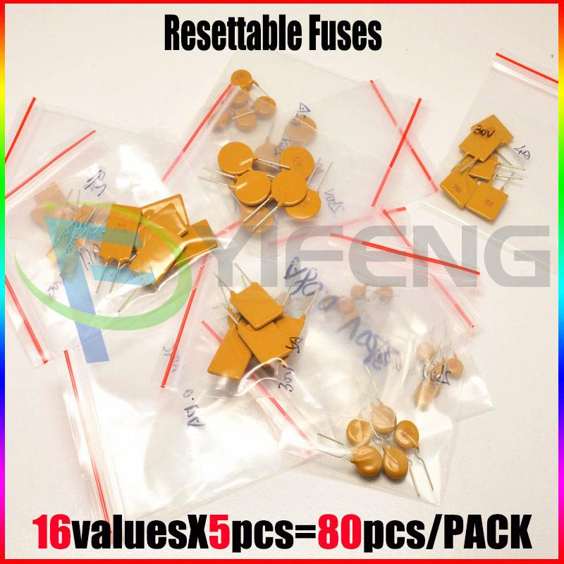 Гаджет  commonly-used 16 kind * 5 pcs = 80 pcs (0.1A-10A) pptc resettable fuses assorted kit None Электротехническое оборудование и материалы